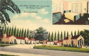 McCrea-Courts-Mt-Vernon-Missouri-roadside-MWM-linen-1940s-Postcard-11187