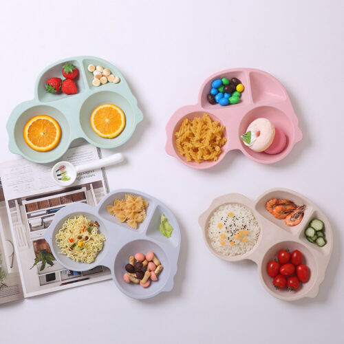 Cartoon Baby Tableware Bamboo Fiber Children Dinner Plate Feeding Dinner Bowl