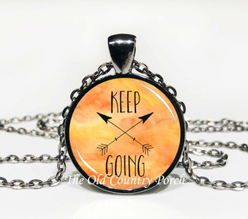 Glass Pendant Necklace Keep Going
