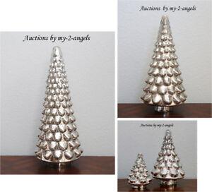 S 4 Pottery Barn Christmas Large Medium Sml Mini Lit Mercury Glass Trees Vintage Ebay