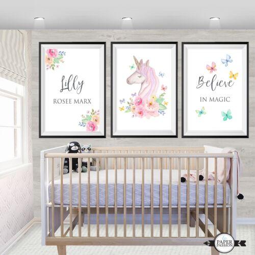 Custom Name print,Unicorn nursery prints,Girls wall prints, Unicorn wall prints