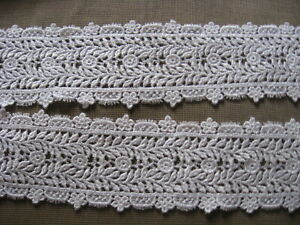 14 YDS LOVELY SCALLOPED WHITE FLORAL RAYON VENISE LACE EDGE
