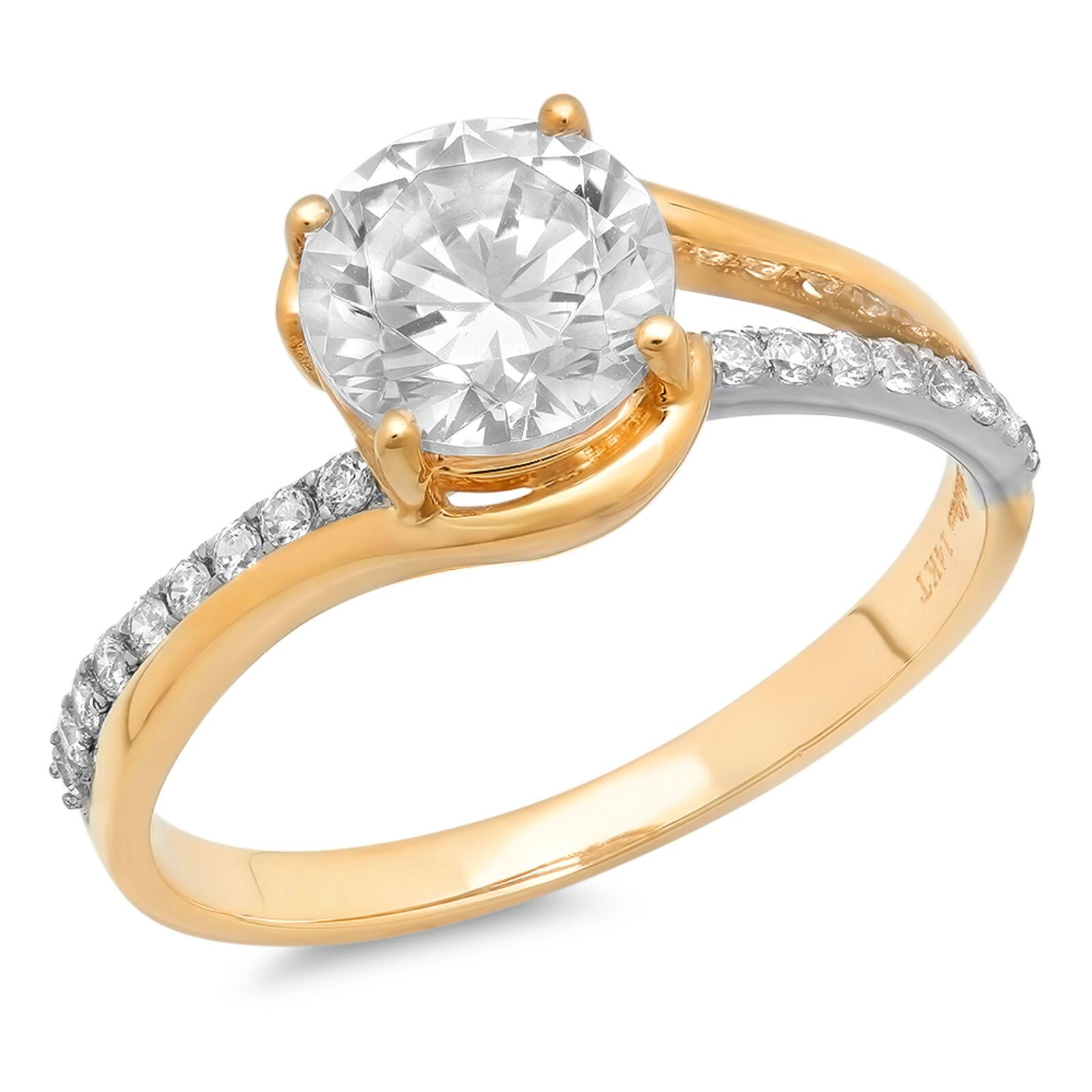 2.13ct Round Cut Wedding Bridal Engagement Anniversary Ring 14k Two-Tone gold