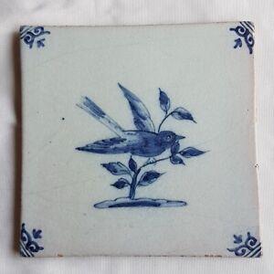 Antique-Delft-Wall-Tile-Bird-blue-white-delftware