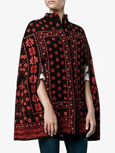 $2285 Alexander McQueen Geo Contrast Wool Silk Jacquard Cape S Red Black Floral