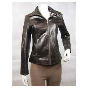 Biker Tight Glaze Fashion Short Jacket Slim Brown Ladies Bike Fitted Leather nw0xBUIOgq