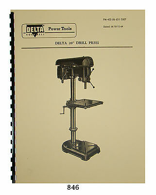 """ROCKWELL-DELTA 20/"""" Drill Press Operators Parts Manual 0641"""