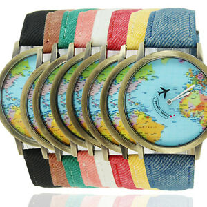 Plane world map pattern travel watches denim quartz watch cusual image is loading plane world map pattern travel watches denim quartz gumiabroncs Image collections