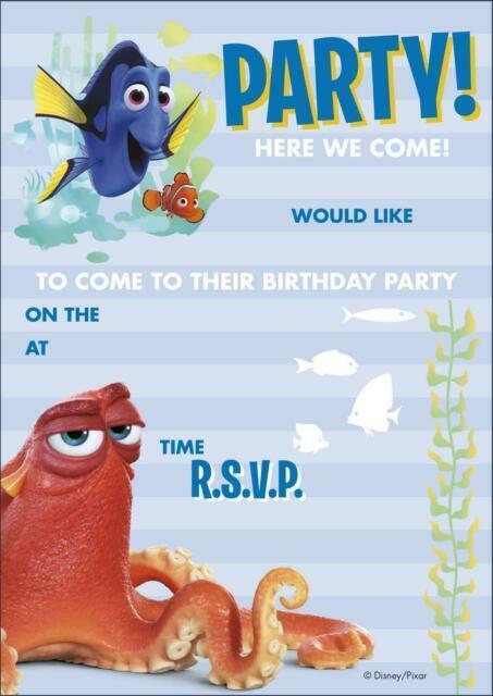 16 Invitations /& Envelopes Disney Pixar Finding Dory Birthday Party