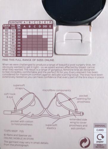 M/&S Taglia di reggiseno 32C Black Lace post intervento chirurgico non imbottito No Ferretto Reggiseno