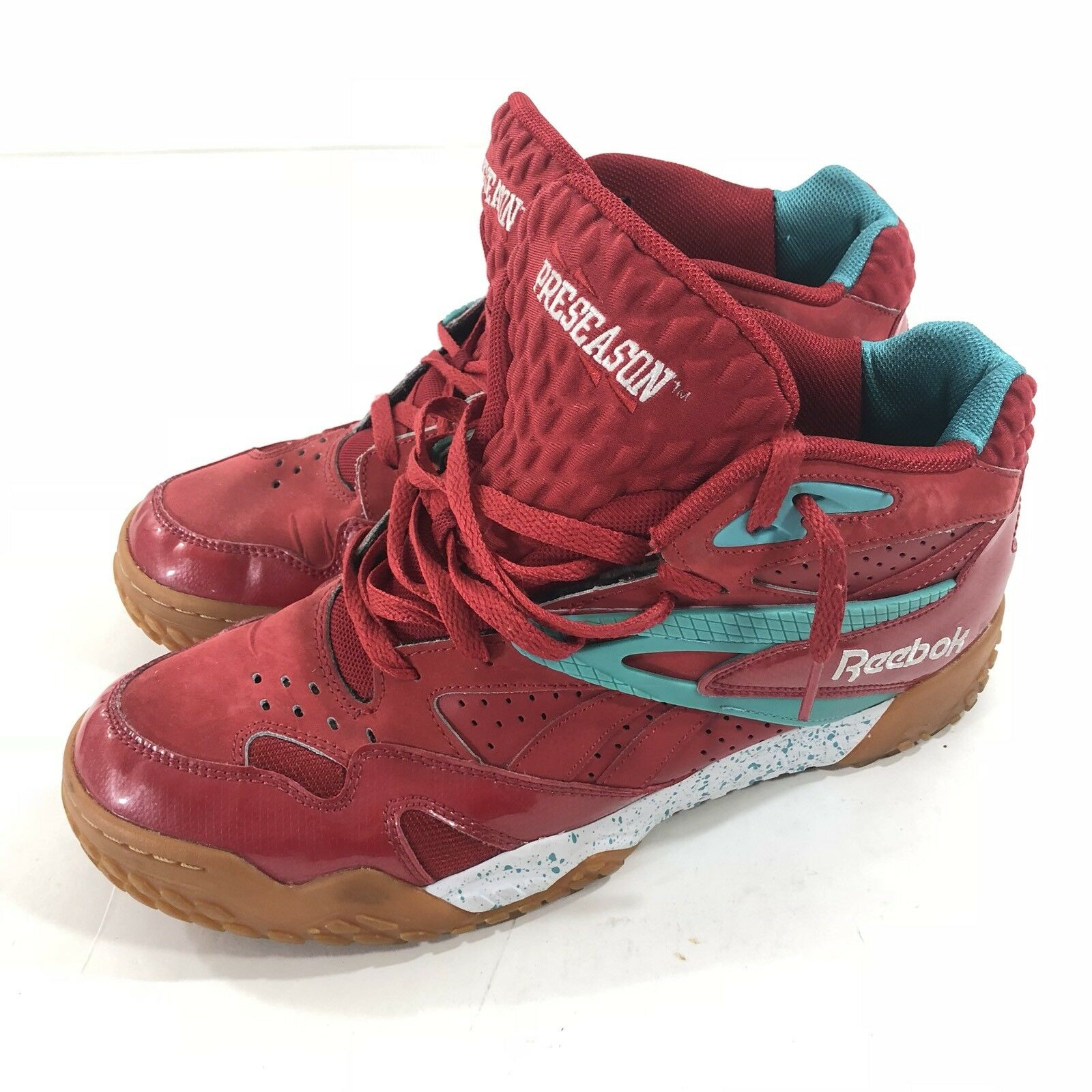Reebok Preseason Scrimmage Mid Men's shoes Sneakers Red Teal White V53091 SZ 11