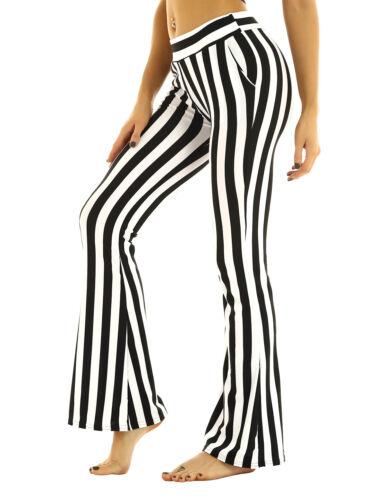 Women Striped Flare Wide Leg Yoga Pants Slim Fit Legging Palazzo Bottom Trouser
