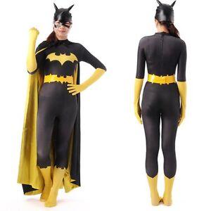 Image is loading Batman-Costume-Batgirl-Batwoman -Superhero-Catsuit-Full-Bodysuit-  sc 1 st  eBay & Batman Costume Batgirl Batwoman Superhero Catsuit Full Bodysuit Mask ...