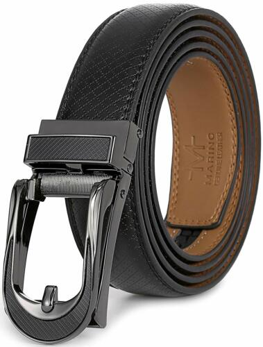 Marino Avenue Mens Genuine Leather Ratchet Dress Belt with Linxx Leather Buckle