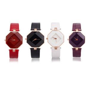 Fashion-Diamond-Style-watch-Analog-Quartz-Lady-Women-039-s-Leather-Band-Wrist-watch