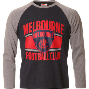 AFL Melbourne Demons Youth Kids Long Sleeve T-Shirt Tee 2016,  sizes 12 14