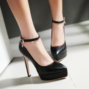 f2f0de1544 Womens Ankle Strap Platform Pointed Toe High Heel Pumps Wedding Shoe ...