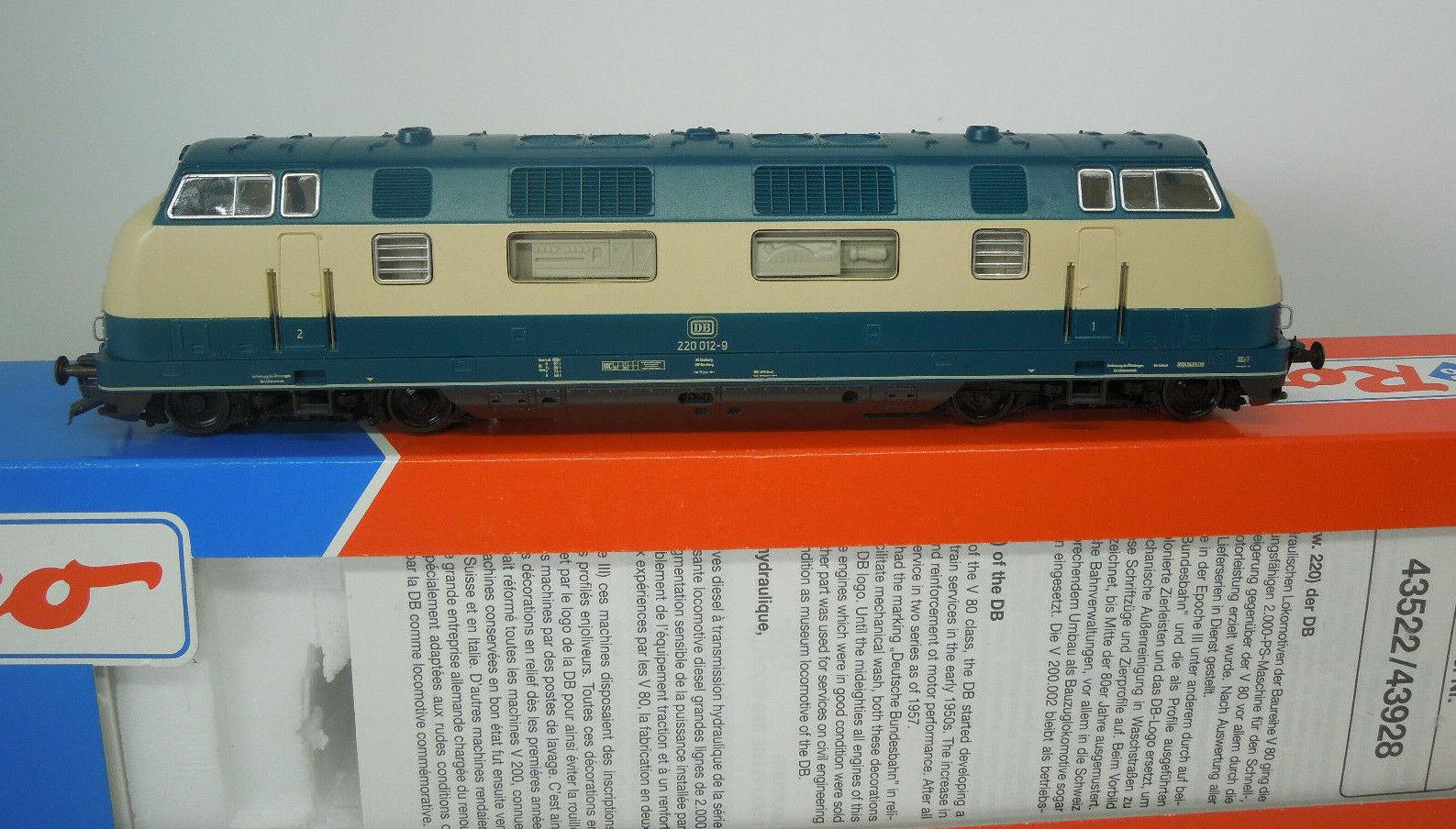 Roco h0 diesellok br 220 012-9 de la DB azul beige en OVP 43522