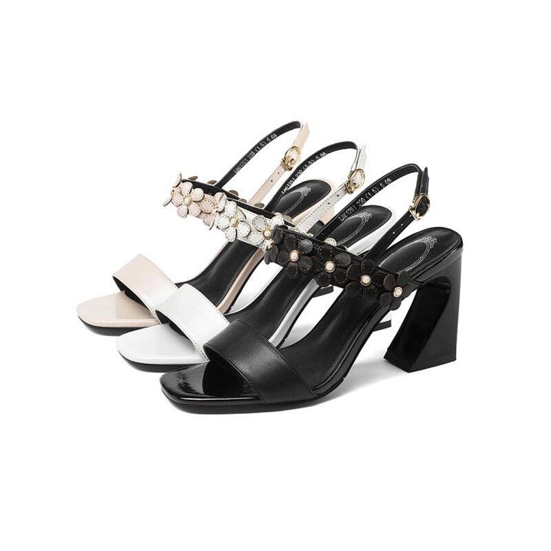US4.5-8 US4.5-8 US4.5-8 donna Peep Toe Leather Slingbacks High Heels Sandals Floral Casual scarpe b3bbeb