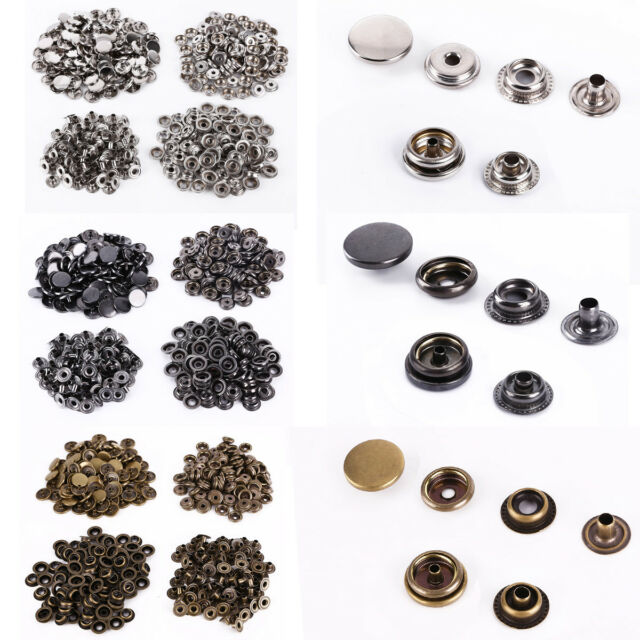 Brass Press Fasteners Round DIY Craft Accessory Snaps Fasteners Press Studs Buttons 2 Parts 12mm-Black 50 Sets Sew On Snaps Buttons Metal