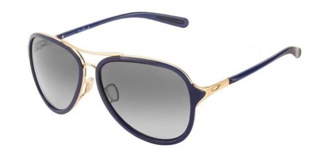 9a102a3b9f Oakley Sunglasses Kickback OO4102-03 Satin Gold Navy Frames Black Gray Lens  58MM