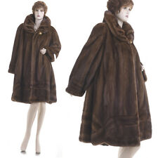 Mint! XXL! Fashion Couture Demi Buff Sable Brown Mink Fur Scalloped Swing Coat