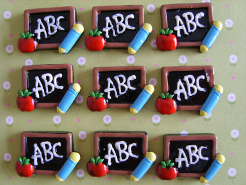 6 x ABC Back to School Flatback Resin Embellishment Crafts Cabochon *UK*