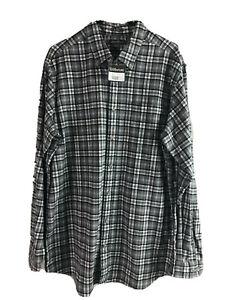 Eddie-Bauer-Cotton-Flannel-Shirt-Mens-LT-Gray-Plaid-Long-Sleeve-Button-Down-New