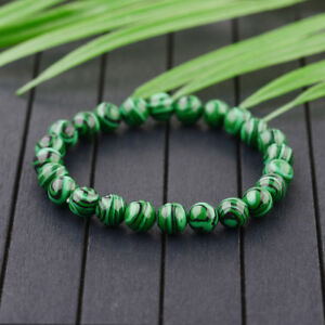 Handmade-Natural-8mm-Green-Malachite-Round-Gemstone-Beads-Stretch-Bracelet