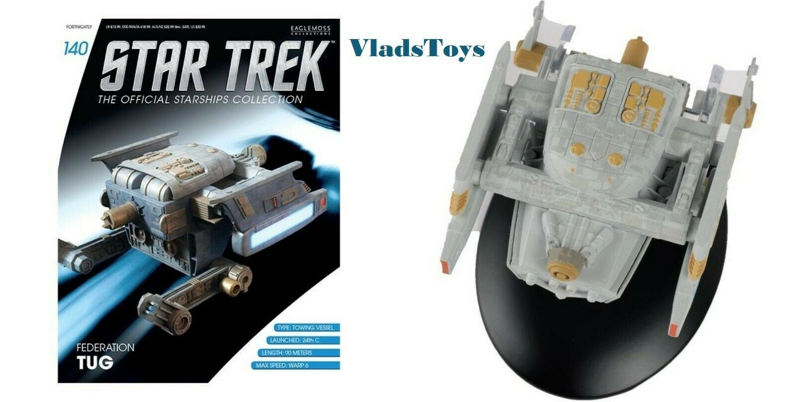 Starfleet Federation Federation Federation Tug Star Trek Eaglemoss w Magazine Iusse 44e9da