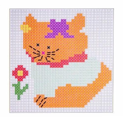 Fun Kid/'s Cross Stitch Craft Pack Girl/'s Stitching Wool Knitting Learning Kit