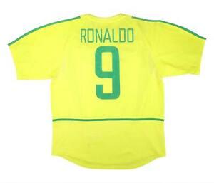 BRASILE 2002-04 Authentic Home Shirt Ronaldo #9 (eccellente) L soccer jersey