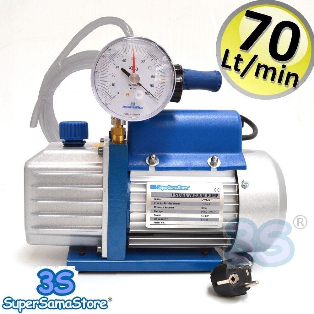 outlet in vendita 3S 3S 3S POMPA del VUOTO 70 Lt min con VACUOMETRO RUBINETTO E 2 mt TUBO VINILICO nuovo  benvenuto a comprare