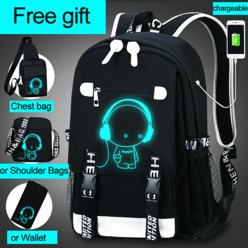 Luminous Anti-Theft Backpack USB Port Book bag School Shoulder Bag for Boys Girl