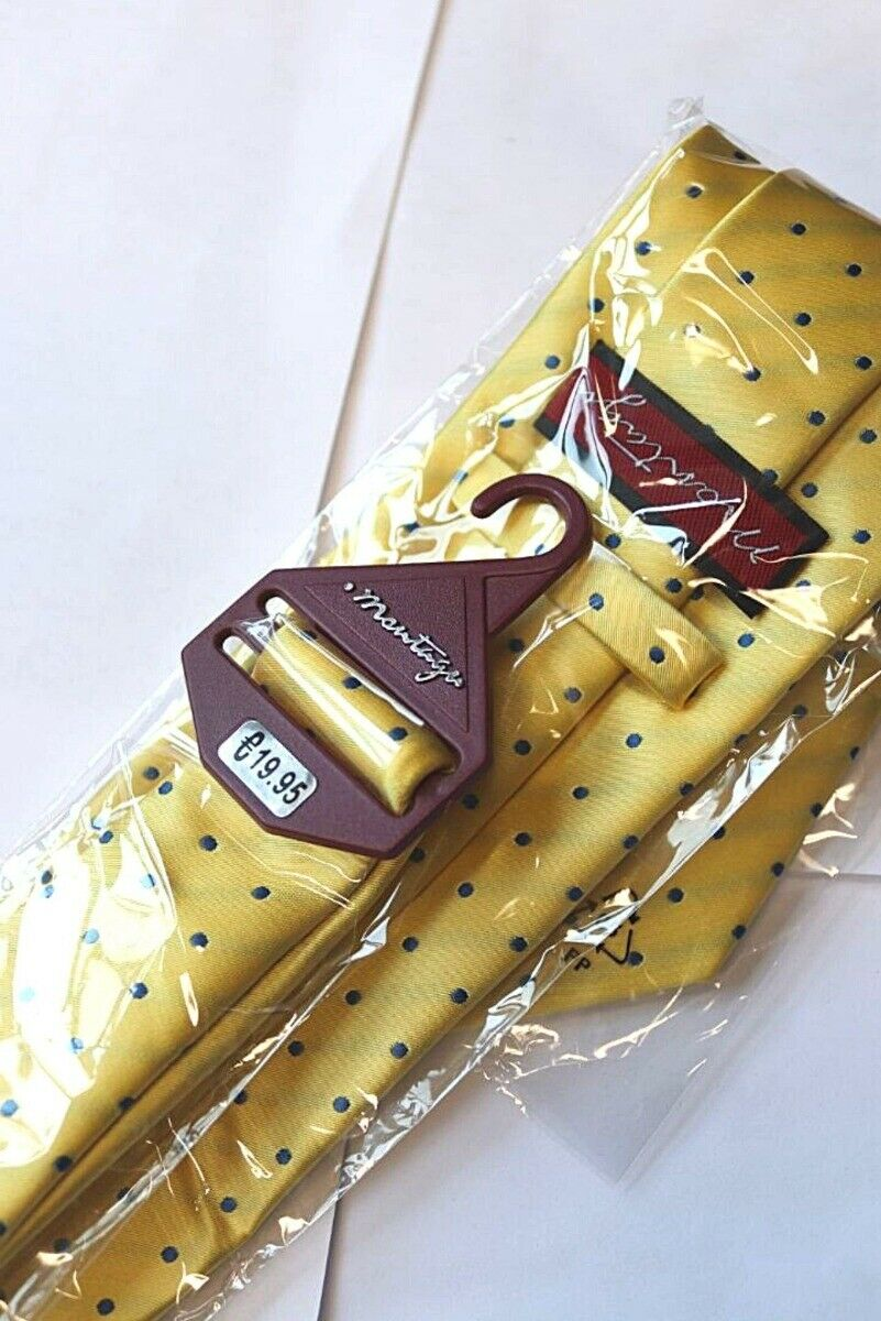 Montage Yellow and Blue Polkadot Tie - One Size