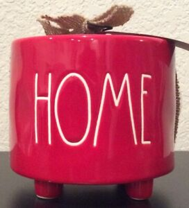 NEW-Rae-Dunn-Holiday-Christmas-HOME-Footed-Planter-Pot-Red-With-Gift-Tag