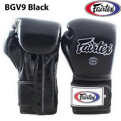 FAIRTEX MUAY THAI KICK BOXING MMA GLOVES BGV9 BLACK WHITE PRO TRAINING MEXICAN