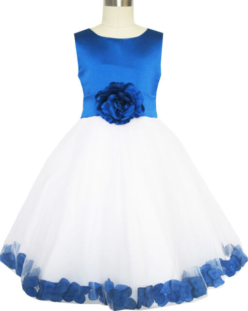 Girls Flower Dress Pagean Blue Tulle Wedding Bridesmaid Size 2-14 Formal Dresses
