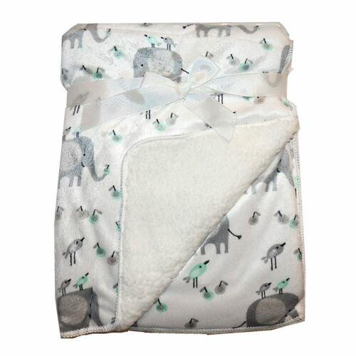 White Elephants /& Birds Mink Sherpa Fleece Baby Cot Crib Pram Baby Blanket