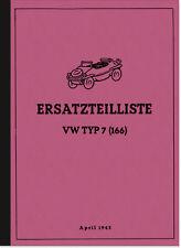 VW Schwimmwagen Typ 166 7 Ersatzteilliste Ersatzteilkatalog Teilekatalog 1943