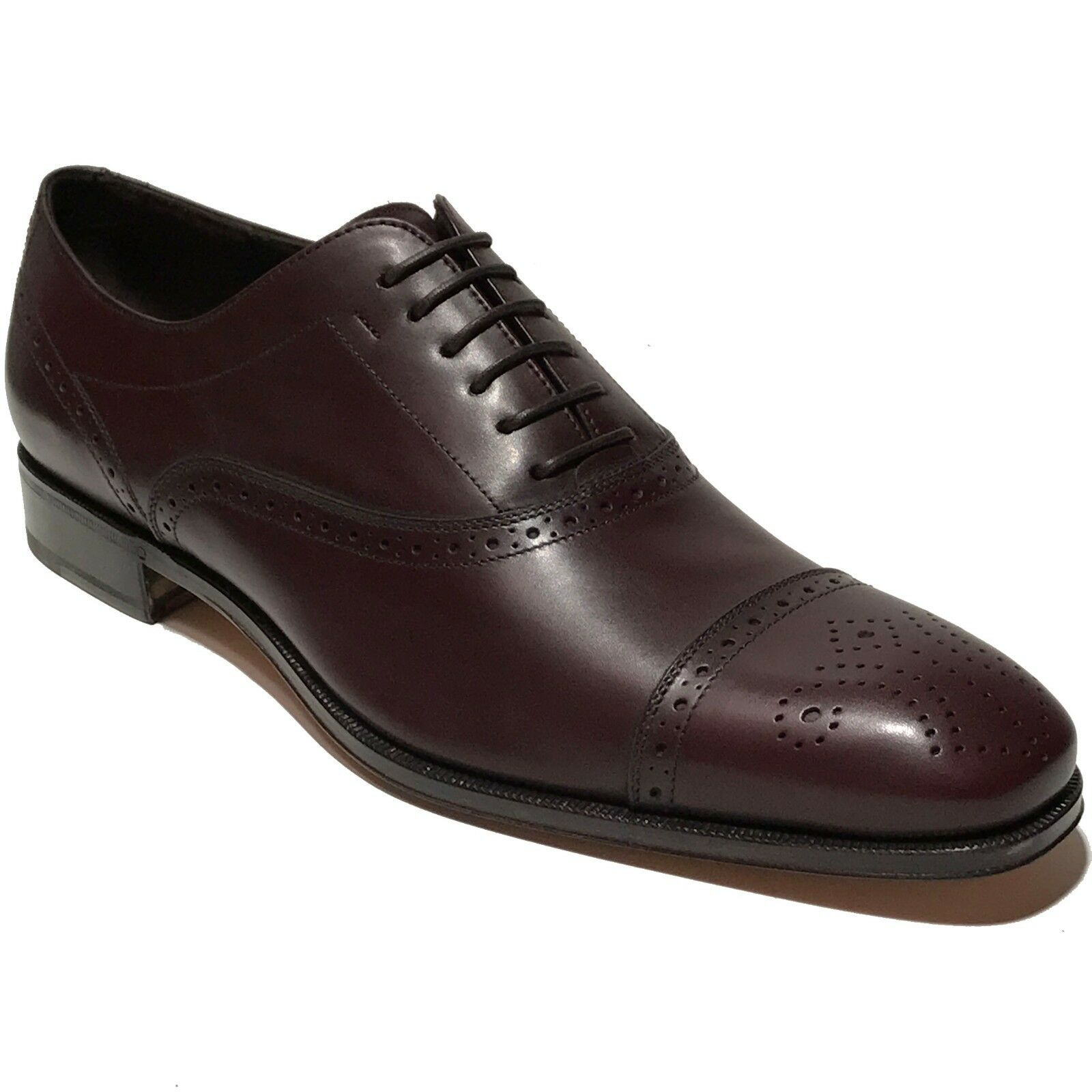 Ferragamo CAESY Brown Captoe Pelle Pelle Pelle Oxford 9.5 D 42.5 Dress Shoes Brogue Brandy 2c7f88