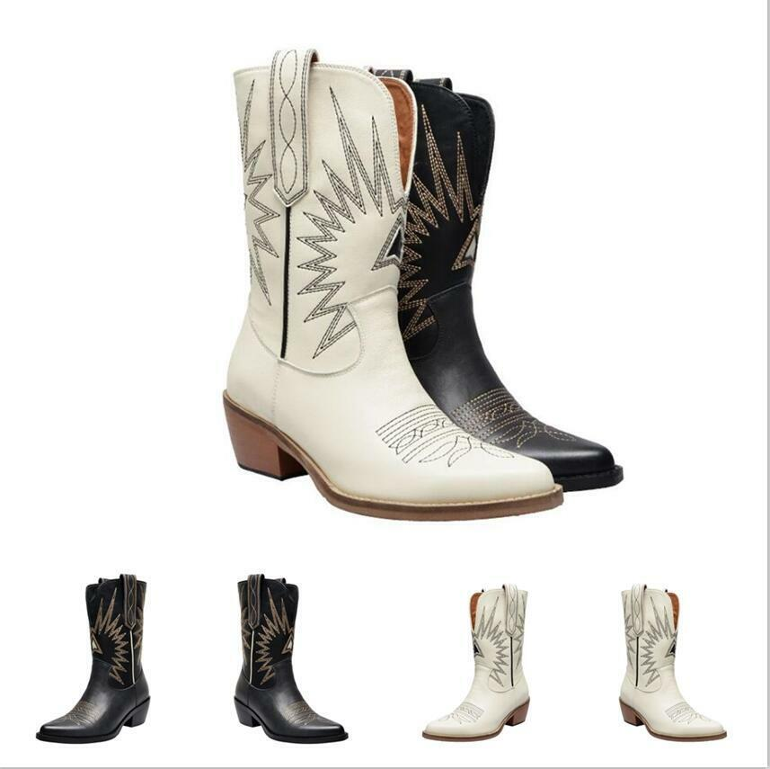 Gladiator Womens Chunky Heel Embroidered Pointed Toe Cowboy Punk Mid Calf Boots