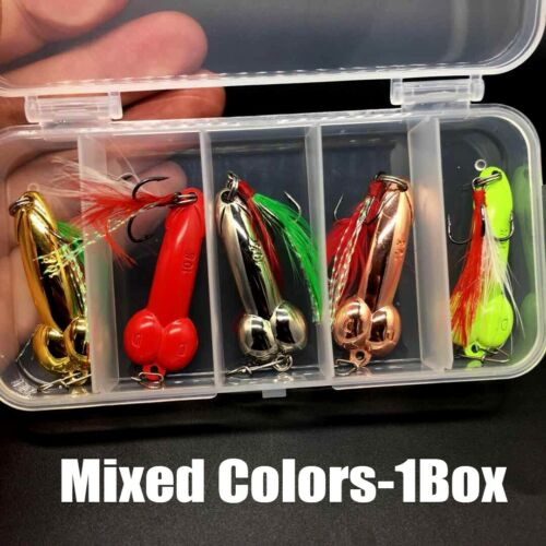5Pcs//Box Penis Fishing Lure Dick Spinner Spoon Lures VIB Metal Baits with Hooks