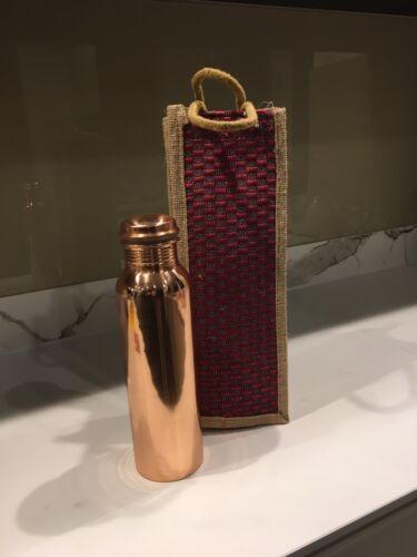 Botella de Agua//matraz 1Ltr Con Bolsa De Yute Llanura de cobre puro hermético