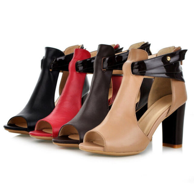 New Women High Heel Strap Ankle Block Sandals Chunky Party Sandal Shoes Peep Toe
