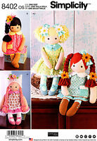 Simplicity Sewing Pattern 8402 23 Stuffed Dolls And Clothes Boots Dress Skirt