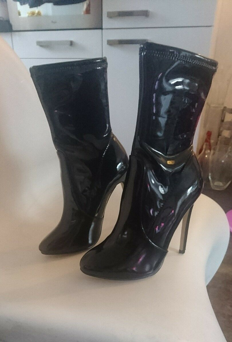 Black Black Black patent faux leather sock boots size 40 955a02