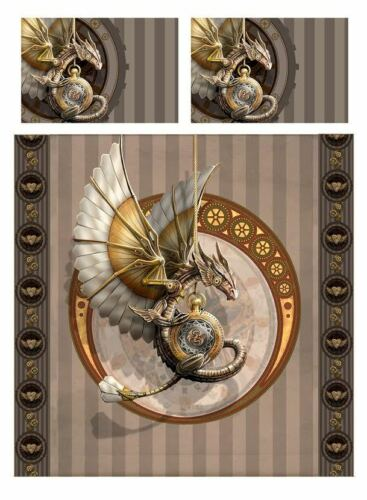 Available in 2 sizes Duvet Cover Bed Linen Set Anne Stokes STEAMPUNK DRAGON