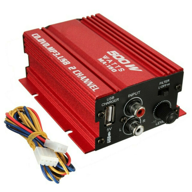 500W 12V Mini 2CH HiFi Stereo Audio Power Amplifier Car MP3 Speaker + USB US v