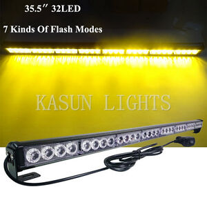 Image Is Loading 32 LED Amber Traffic Light Bar Directional Flasher